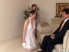 A gorgeous Japanese hottie gets her hairy pussy fucked and fuckin' filled with cum, hit play and check it out right here!