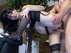 Take a look at this hot scene where this horny pregnant brunette is fucked by this guy as she wears sexy lingerie.