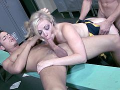 A fuckin' slutty bitch sucks dicks and fuckin' gets those hard throbbing peckers shoved balls deep into her stupid cunt, check it out!