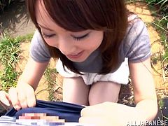 A beautiful Japanese babe walks around the place outside the town. Then she comes up to a guy and drops to her knees. Sayuki sucks a dick with pleasure in a POV video.