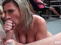 Naughty and zealous MILF knows how to please a man. She gives her younger boyfriend great deepthroat while standing on her knees.