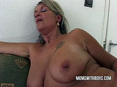 Watch this Old hot slutty mature Boss fuck a hot young stud at a job interview! This old bitch loves anal.See how this sexy blonde big titted milf, getting naked for sucking that big hard cock and getting fucked in her butt hole.