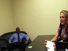 2 Big To Be True brings you a hell of a free interracial video where you can see how the naughty blonde Nikki Sexxx gets banged by two black studs at the office til she cums very hard.