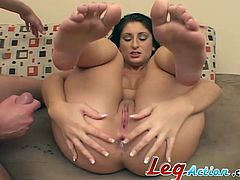 A pleasurable Latina gets her pussy licked and mouth fucked at the same time. It is a great feeling, that is why she gets very horny. Then Luscious gets double penetrated. She enjoys the every second of this amazing threesome sex.