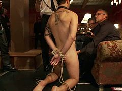 Christian Wilde, Jake Austin and their salacious gay buddies are having fun indoors. One of the men gets tied up and humiliated and then enjoys a gangbang.