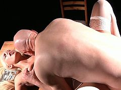 Young slut gives her old lover a nice blowjob in 69 position
