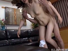 A horny Japanese chick lies lies on a sofa getting her trembling pussy licked. Then she gets fucked deep and hard in different positions. She screams loudly with pain and pleasure.