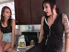 Emo lesbians Janice Griffith and Nikki Hearts. If Janice thinks she's the first temptation Nikki's pussy has ever had from the lesbian side of the fence, well, Nikki can run whatever game she likes.