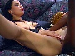 Sweet Nikita Denise takes off her kimono and starts to suck a big black cock. Then this pleasurable girl gets her ass fingered and fucked hard.