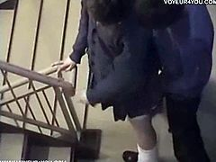 Amateur japanese couple is caught on a security camera in the stairs of a building. She gets on her knees, gives head and then bends over and they fuck doggy style