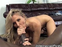 Julia Ann is a gorgeous blonde MILF in sexy lingerie. She plays with her pussy and gives a blowjob in POV video. This MILF also takes a big black cock in her shaved pussy.