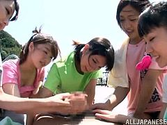 A group of sexy Asian babes have fun at some sort of a resort. These Japanese girls stroke and suck a dick in a POV style video. This dude is the luckiest bastard in the world.