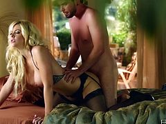 Captivating blonde Courtney Taylor gives a passionate blowjob to some dude and lets him taste her smooth pussy. After that they bang in cowgirl position and doggy style and enjoy it much.