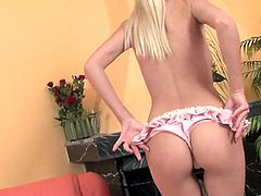 A delightful blonde babe takes off her pink lingerie. A guy licks her ass and fingers a pussy at the same time. Then Jasmine give head and gets cowgirl fucked.