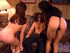 Take a look at this hardcore scene where the sexy Asia Carrera and another hottie are nailed by a lucky guy in a threesome.