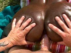 Astounding ebony screaming with one large dong slamming hard inside her creamy vag and cramped butt hole