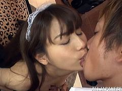 Touch yourself watching this long haired Japanese babe, with a nice ass wearing a maid uniform, while she goes hardcore with a naughty guy.