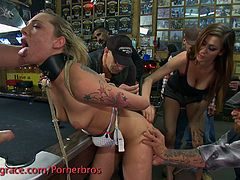 See how an alluring blonde slave gets tied up and abused in a bar. After her ass gets stuffed with a pool cue and her pussy receives a hell of a pounding, she's ready to let a vicious brunette dildo her clam into ecstasy.