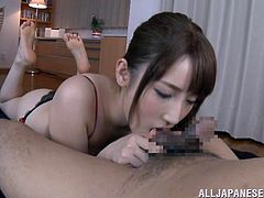 Look at this innocent and nubile young Japanese slut. She is so naughty and today, she's going to suck the cock of a much older man. She gets him in the mood, by licking his nipples and even kisses him. Watch her explore the old guy's dick with her skilled tongue.