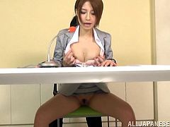 A delightful Japanese girl has to do nasty things at a casting. She wants to be a TV presenter, so she has to deal with any kind of stressful situations. She gets her pussy licked and toyed with a vibrator. She fails the interview because she cannot resist her sexual desires. This horny girl gives a blowjob.