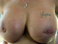 This short-haired enchantress has appetizing curves. Her big round boobs look good from every angle and what a fine ass she has. Cum-addicted sexpot rubs her pink pussy in front of her lover. Then she goes straight for his throbbing cock.