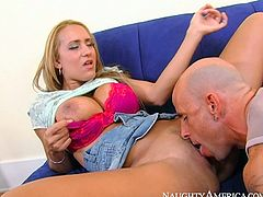 Horny bald dude Barry Scott feels up curvy body of Trina Michaels. He lifts up her skirt and sticks his tongue to slick wet pussy. Awesome high-quality sex video is presented by Naughty America.