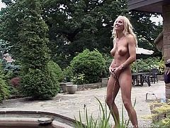 Have fun with this hot lesbian scene as these horny blondes have fun pleasing each other outdoors before you watch them pee afterwards.