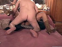 That ugly smelly man with big belly pounded that long haired ebony blondie in missionary position. She didn't like that fuck pose and set to ride his tiny cock in cowgirl pose. Take a look at this freaky fuck in Fame Digital porn clip!