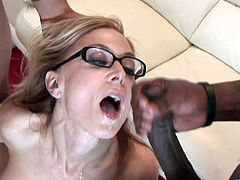 Horny milf is riding two black cocks one by one