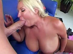 Have fun with this hardcore video where the sexy blonde milf Rachel Love shows off her amazing tits before being fucked by a thick cock.