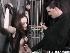 Make sure you don't miss this sexy and kinky brunette chick tortured by a master and a mistress in the dungeon. She screams loud and wants to cum for them.