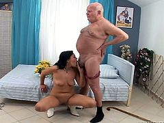 Black haired slutty bitch with small ugly tits stood on knees and seized that tiny cock greedily. She set to suck it and in a minute she rode it hard in reverse cowgirl pose. Just enjoy that lusty chick in Fame Digital porn video!