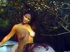 Linda Diego, Caroline Pierce and one more chick are having fun with a bulky dude outdoors. The sluts suck the man's boner and let them pound their pussies doggy style.