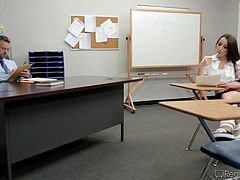 A slutty schoolgirl gives her test paper and also offers the teacher something more. She has all the necessary ingredients to spice up the tight atmosphere in the classroom. Watch the video to see how she gets undressed and spreads her legs over the desk. You'll notice a small tattoo above the pussy.