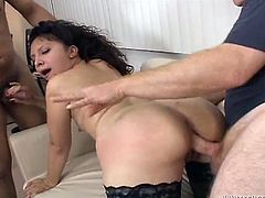 Zealous black and curly haired mommy posed doggy style on sofa and sucked two hot blooded sausages. Meanwhile she got her throbbing asshole invaded hard right away. Have a look at this dirty gangbang fuck in Fame Digital porn video!