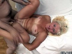 Checkout this sexy mature blonde milf with nice shaggy tits and shaved cunt.See how this slutty milf rides that big hard cock and gets her cunt fucked and nailed deeply.