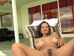 A sex addicted mature woman in a bikini has sex with a younger guy. Persia sucks his dick excitedly and then gets pounded on a lounge chair. Nothing can be better than a hardcore sex on a weekend.