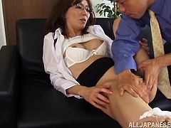 Slutty Shiho lies down on a sofa and lifts a skirt up. Some bald guy licks Shiho's vagina to make it wet. Then the girl gets fucked in a missionary position.