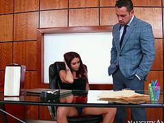 Gorgeous red haired babe Monique Alexander is fucked by Johnny Castle