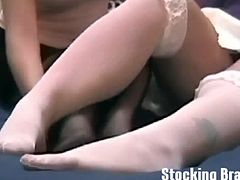 Stocking Brats brings you a hell of a free porn video where you can see how these sexy college sluts make out and lick their feet while assuming very interesting poses.