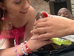 White teen chicks with natural tits Ferrera Gomez and Jessica Neight are standing on knees and starting to caress big dick of ebony man Mike Chapman by hands and mouths.