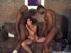 This white guy wanted to walk on the wild side. He met these two black guys online, went to their house and got fucked by them both.