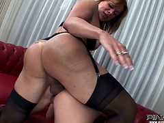 Light haired shemale fucks the pretty brunette babe with the dildo first and then with her cock. And then gets a blowjob. Have a look at this whore in steamy Pinko Shemale sex video.