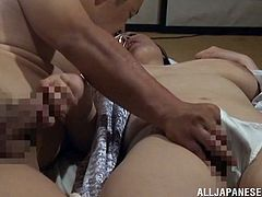 Name is Nonami Uehara and she is going to have so much fun with this dude. So, legs are wide open and her pussy is so welcome.