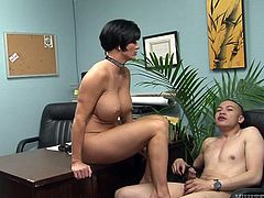 Short and black haired filthy bitch with big marvellous tits sat on table with her legs spread apart and hoped to get nice cunnilingus. But her freaky fuck boy preferred to lick her toes instead...Look at this kinky guy in Fame Digital porn clip!