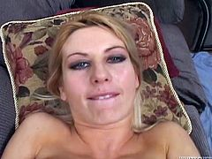 Seductive blonde trollop gives awesome blowjob before taking hard dong deep up her snatch in a missionary position. She circles her finger against firm clit while getting screwed intensively.