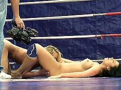 Entertaining and dirty fight between topnotch Melissa Ria and skillful Dorina Gold, having an intense brawl with each other they are licking each others pussys until someone cums.