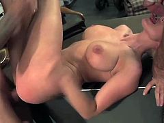 Charley Monroe has her snatch and mouth penetrated by two cocks. Two soldiers are all over her, fucking her holes. She enjoys their strong arms around her.