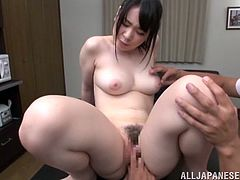 Sexy nude Japanese chick is having lunch with two dudes. The men pet the cutie and lick her tits and then drill her pussy from behind and use her face as a cum target.