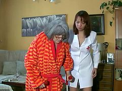 This chubby old grandma wants her nurse to help her bathe. After it, she gets fucked hard by her husband. She doesn't seem too ill when she takes cock in her cunt.